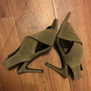 Sandro Military Green suede heels- size 37